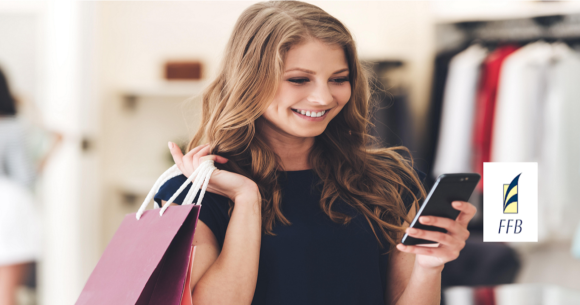 girl with phone shopping using card control app