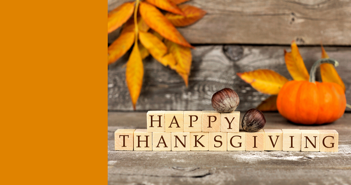 Happy Thanksgiving message with fall colors